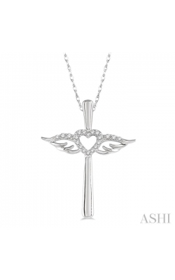 DIAMOND ANGEL WINGS HEART SHAPE & CROSS PENDANT 958A8DHTSPDWG product image