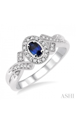 OVAL SHAPE SILVER GEMSTONE & DIAMOND RING 88529DHSSSPSLRG product image
