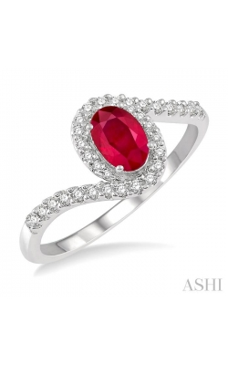 OVAL SHAPE GEMSTONE & DIAMOND RING 40827DHTSRBWG product image