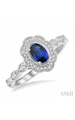 OVAL SHAPE GEMSTONE & DIAMOND RING 40928DHTSSPWG product image
