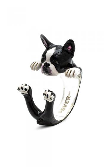 Dog Fever Enameled Hug Fashion ring BOSTON TERRIER product image