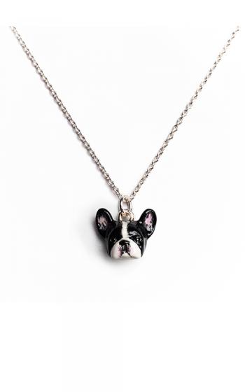 Dog Fever Enameled Head Necklace FRENCH BULLDOG product image