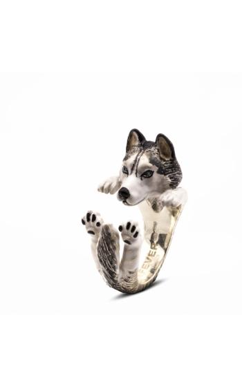 Dog Fever Enameled Hug Fashion ring SIBERIAN HUSKY product image
