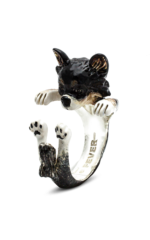 Dog Fever Enameled Hug Fashion ring CHIHUAHUA LONG HAIRED product image