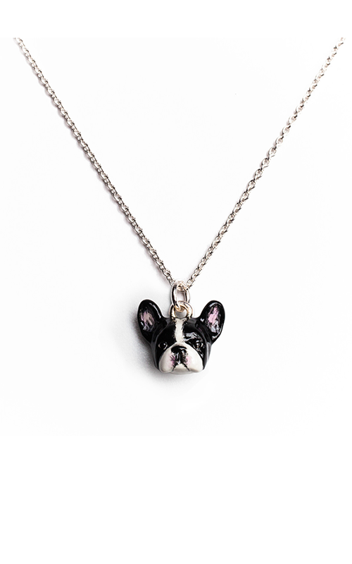 Dog Fever Enameled Head Necklace FRENCH BULLDOG product image