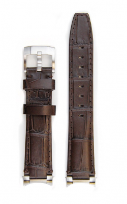 Everest Steel End Link Alligator Embossed Leather Strap With Tang Buckle - Vintage Brown EH4BRN product image