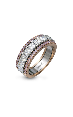 Simon G LP1875 Wedding Band | 18K Rose & 18K White Gold product image