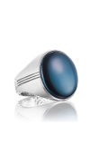 Tacori Oval Cabochon featuring Sky Blue Hematite Men's Ring MR10437