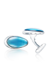 Tacori Cabochon Vented Cuff Links featuring Sky Blue Topaz over Mother of Pearl Cufflinks MCL11442