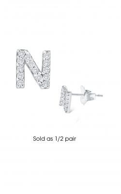 KC Designs Diamond Single Initial Earrings E3171-N product image