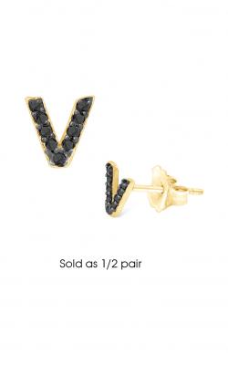 KC Designs Diamond Single Initial Earrings E3171BK-V product image