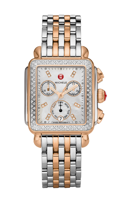Michele Signature Deco Diamond Two-tone Rose Gold, Diamond Dial Watch MW06P01D2046_MS18AU315750