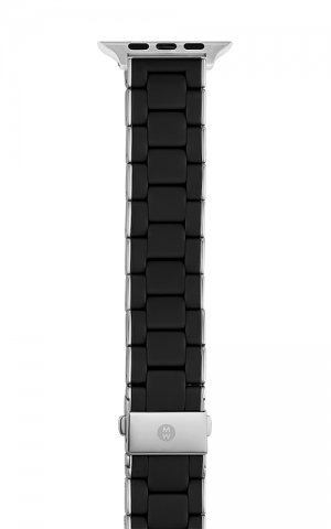 Michele 38/40MM AND 42/44MM BLACK AND STAINLESS SILICONE-WRAPPED BRACELET FOR  Apple Watch® MS20GN230001