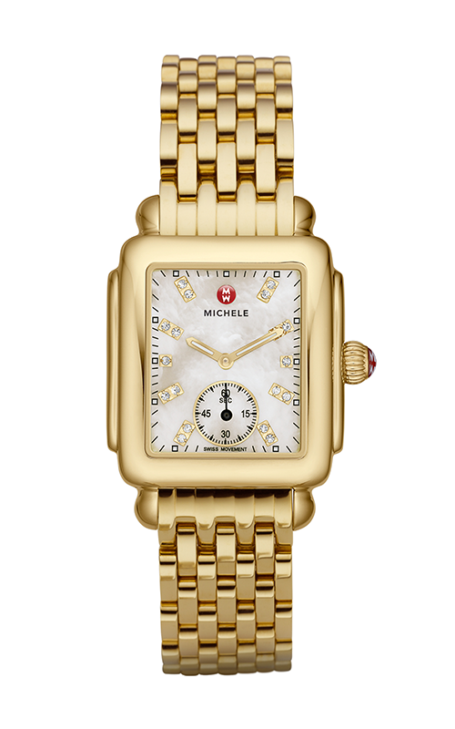 Michele Deco Mid Gold, Diamond Dial Watch product image