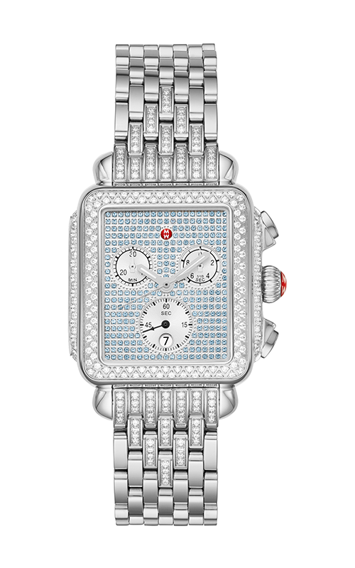 Michele Deco Stainless Pavé Sapphire and Diamond Watch MWW06P000298