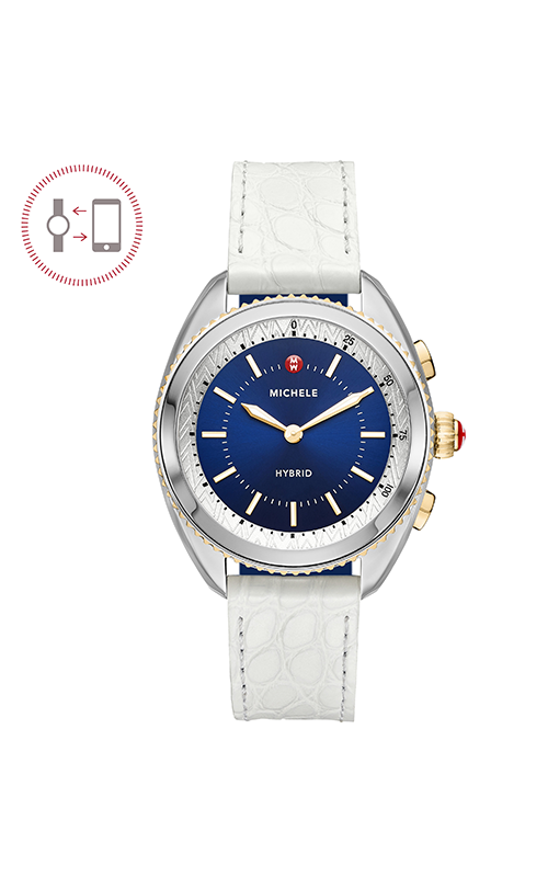 Michele Cape Two-Tone Navy Dial White Alligator And Navy Silicone Hybrid Smartwatch MWWT32A00001 product image