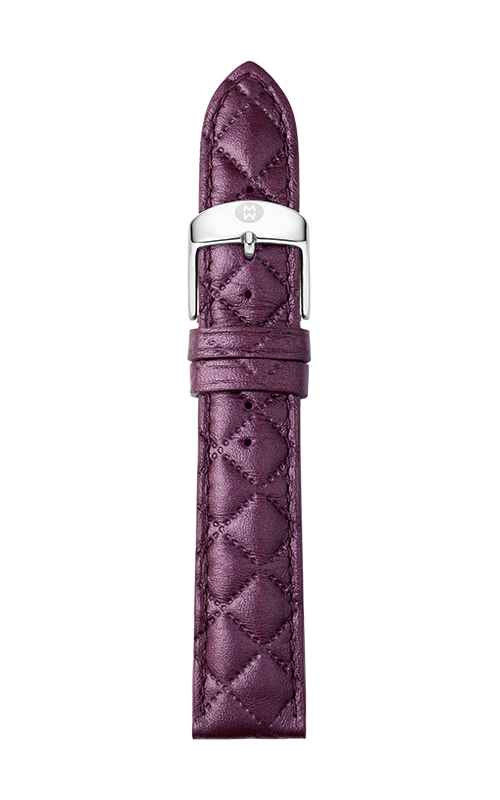 Michele 16mm Violet Quilted Leather Strap MS16AA370535   product image