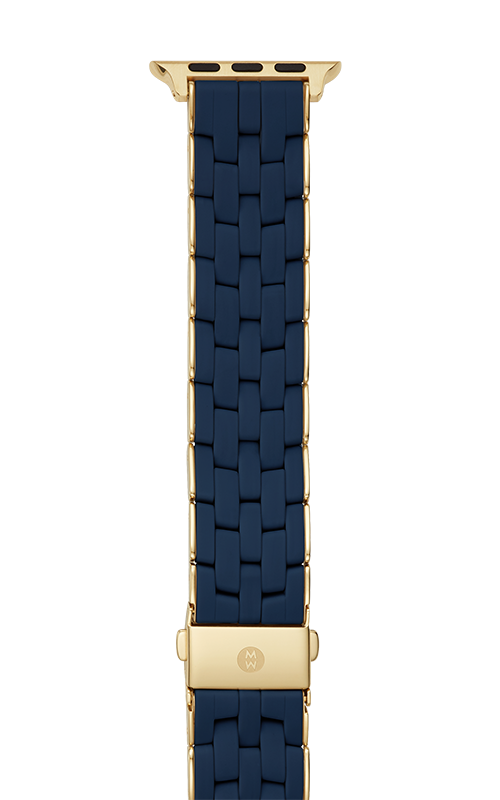 Michele 38/40mm and 42/44mm Blue and Gold-Tone Silicone-Wrapped Bracelet Band for Apple Watch® MS20GP246400   product image