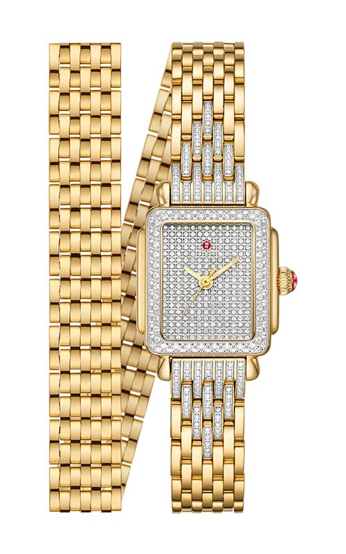 Michele Deco Madison Mini Double-Wrap 18k Gold Pavé Diamond Watch MWW06D000165 product image