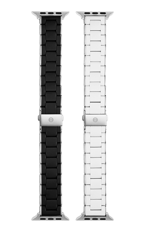 Michele 38/40MM AND 42/44MM  BLACK AND STAINLESS, WHITE AND STAINLESS  SILICONE-WRAPPED BRACELET GIFT SET FOR Apple Watch® MS20GR001SET product image