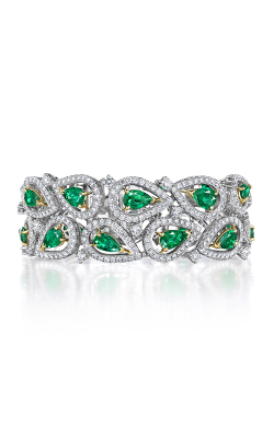 Oscar Heyman 18kt Gold & Platinum Emerald And Diamond Paisley Bracelet 804311 product image