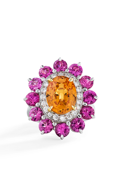 Oscar Heyman 18kt Gold & Platinum Spessartite Garnet, Spinel, And Diamond Ring 302441 product image