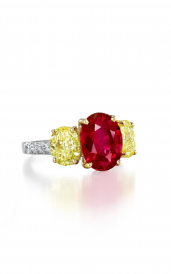 Oscar Heyman 18kt Gold & Platinum Burma Ruby And Fancy Yellow Diamond Ring 302458 product image