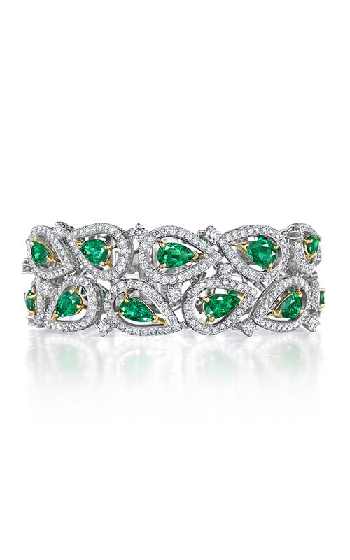 Oscar Heyman 18kt Gold & Platinum Emerald And Diamond Paisley Bracelet 804311 product image