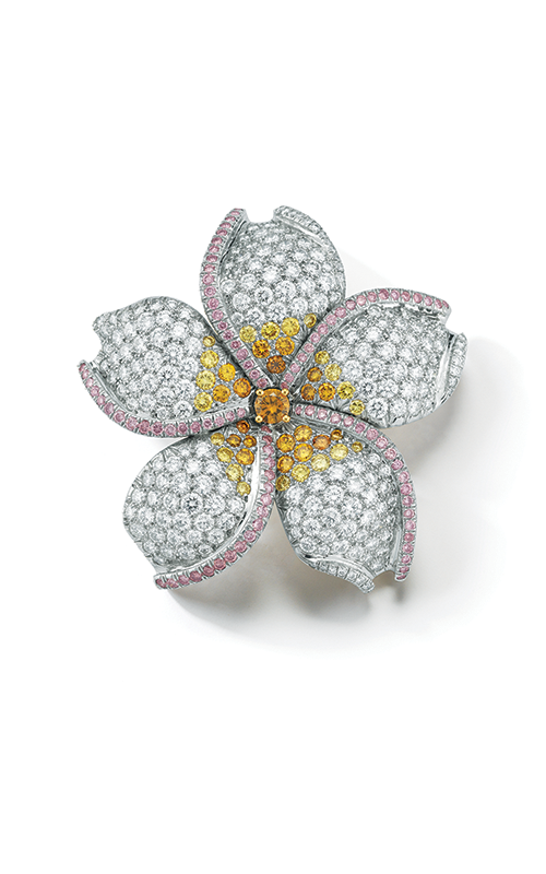 Oscar Heyman 18kt Gold & Platinum Five Petal Flower Diamond Brooch 200115 product image