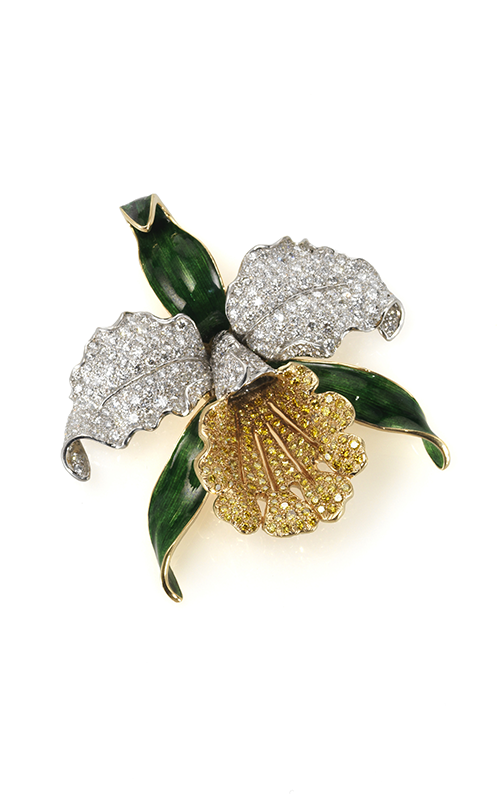 Oscar Heyman 18kt Gold & Platinum Enameled Fancy Diamond Orchid Brooch 200628 product image