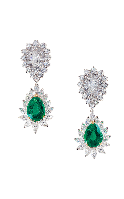 Oscar Heyman 18kt Gold & Platinum Diamond Top Emerald Drop Earrings 706220 + 706345 product image
