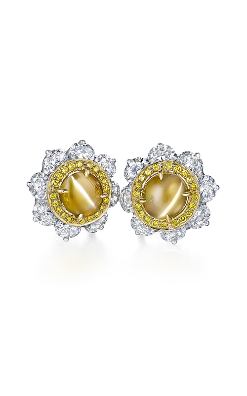 Oscar Heyman 18kt Gold & Platinum Cat's- Eye And Yellow Diamond Entourage Earrings 706508 product image