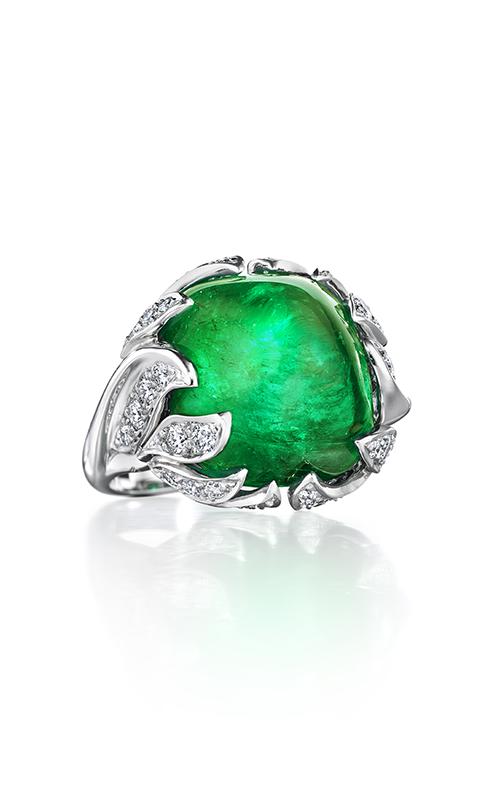 Oscar Heyman Platinum Cabachon Emerald And Diamond Flame Ring 302171 product image