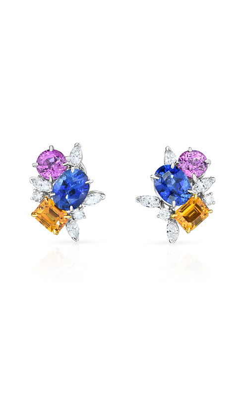 Oscar Heyman Gold & Platinum Multicolor Sapphire Scatter Earrings 706534  product image
