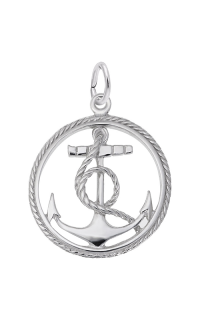 Rembrandt Sterling Silver Peace Charm Tag Charm on a Sterling Silver Rope Chain Necklace