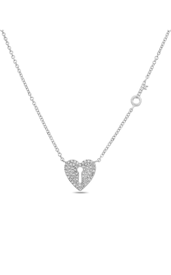 Roman And Jules Heart Lock & Key Diamond Pave Necklace EN1039-1 product image
