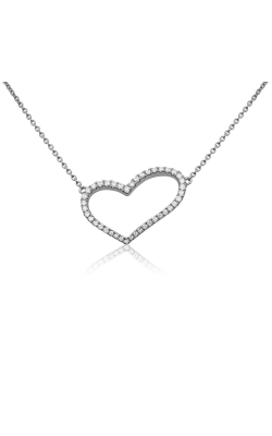 Roman And Jules White Diamond Pave Heart Necklace UN1779A-1 product image