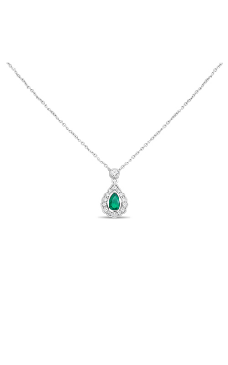 Roman And Jules Pear-shaped Emerald Halo Necklace UN2065-3 product image