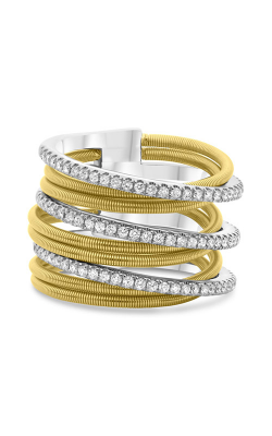 Roman And Jules White & Yellow Gold Diamond Pave Coil Ring MR739-3 product image
