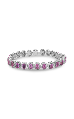 Roman and Jules Oval Pink Sapphire & Diamond Halo Bracelet MB615-13 product image