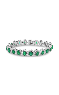 Roman and Jules Oval Emerald & Diamond Halo Bracelet MB615-12 product image