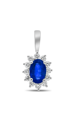 Roman And Jules White Gold Oval Blue Sapphire Halo Pendant UP1974-5 product image
