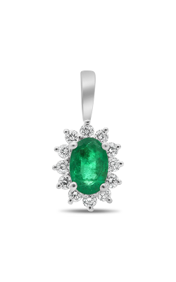 Roman And Jules White Gold Oval Emerald Halo Pendant UP1974-4 product image