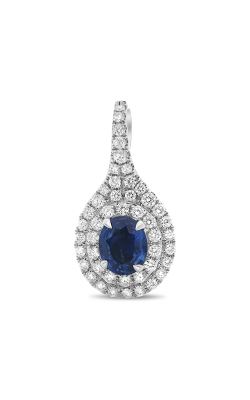 Roman And Jules Oval Blue Sapphire Double Halo Pendant MP753-1 product image
