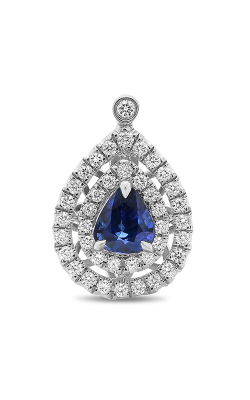 Roman And Jules Pear-shaped Blue Sapphire Split Halo Pendant KP3886-1 product image
