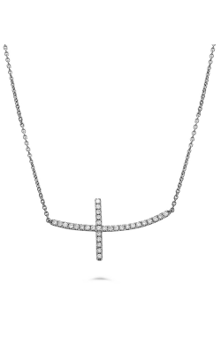 Roman And Jules White Gold Diamond Sideways Cross Necklace MN886-1 product image