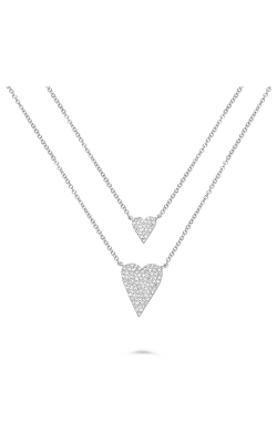 Roman And Jules White Gold Double Diamond Hearts Necklace AN1050-1 product image