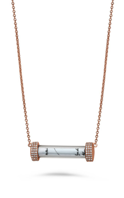 Roman And Jules Rose Gold And Diamond Glass Tube Neckalce MN801C-3 product image