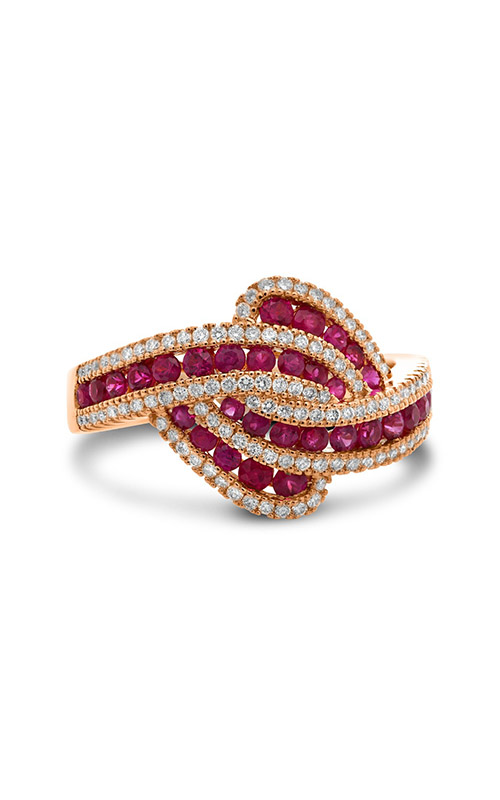 Roman and Jules Rose Gold Ruby & Diamond Twist Ring UR2123-4 product image