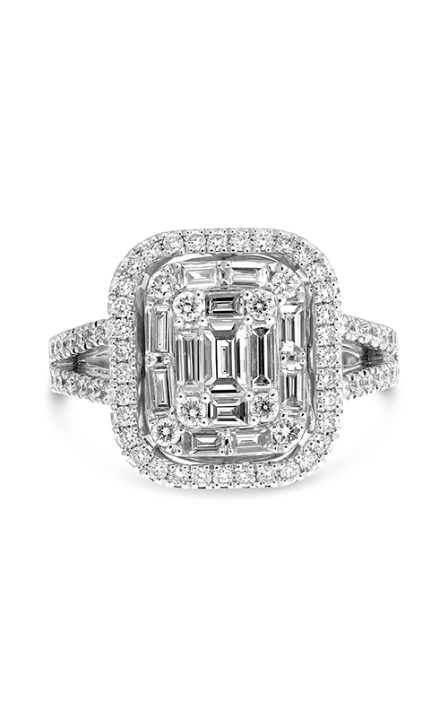 Roman And Jules Diamond Ring With Baguette Cluster And Halo Engagement Ring DR1023-1 product image